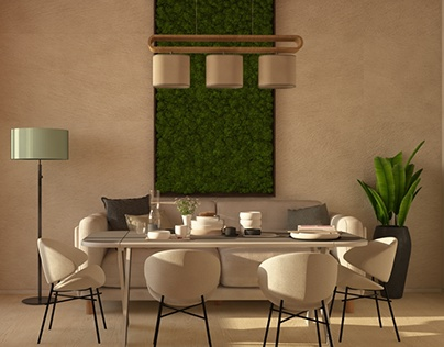 Проект кухни в эко-стиле с гостиной зоной