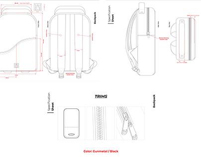 Full Detailing Backpack Desing for Manufacture
