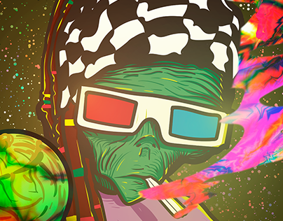 T-shirt design - Psychedelic Alien