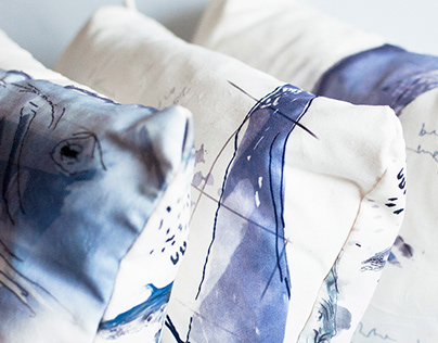 Blue Whale / Illustrated pillows set