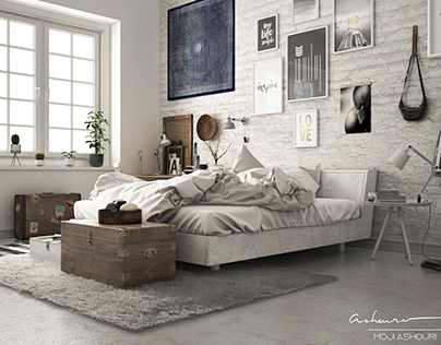 Nordic Style Bedroom Interior Visualization