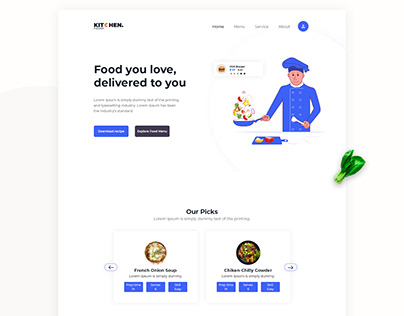 Food Website landing page design