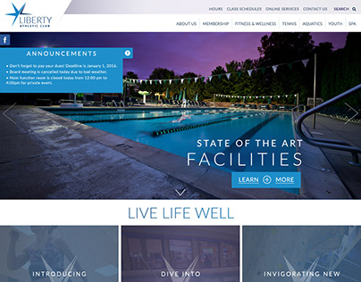 Liberty Athletic Club homepage design