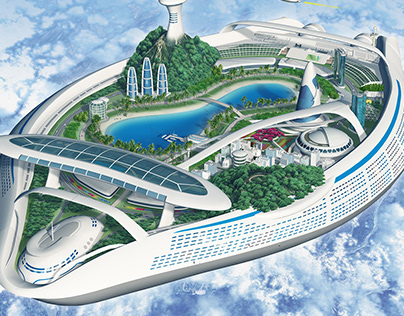 Future city of machinery and large cruise ship