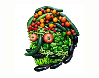vegetable human collage graphic