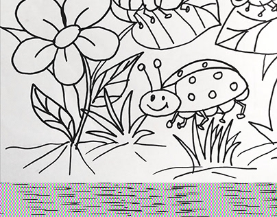 INSECTS WITH FLOWER COLORING PAGE DESIGN