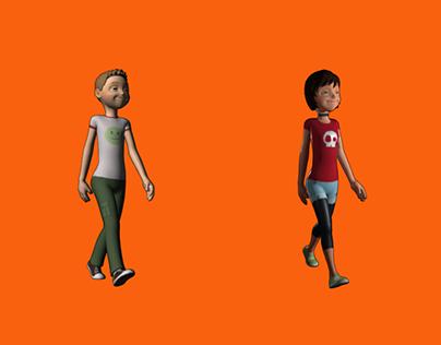 boy/girl walkcycles