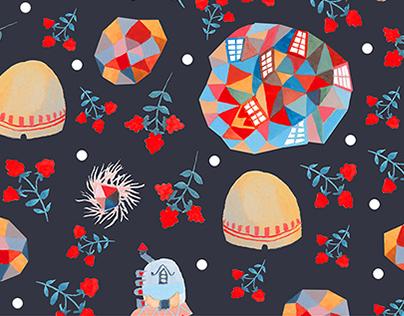 Whimsical brambles pattern