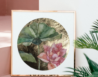 Water lily , watercolor with gold