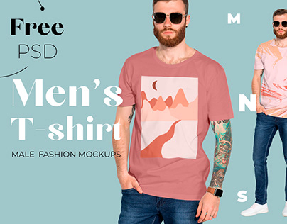 Free Men's T-shirt Mockup for graphic tees