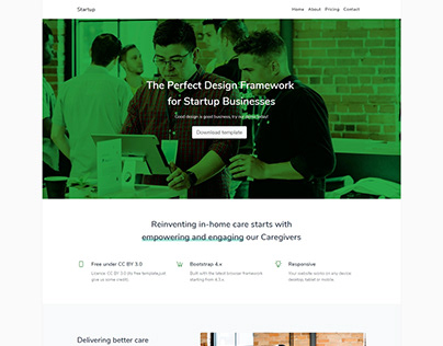Startup – Free bootstrap landing template