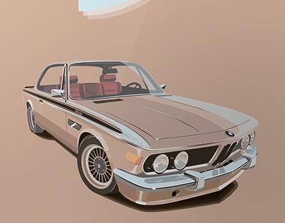 BMW E9. Vector illustration
