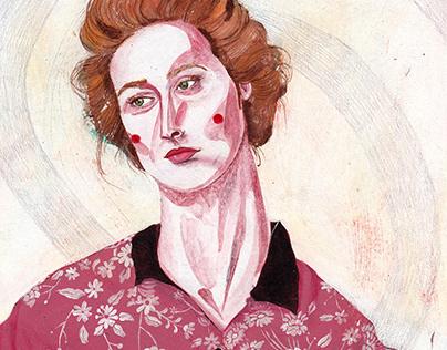 acrylic on paper ----- a portrait of @merylstreep 🤍