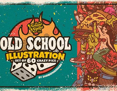 Illustration Set of 60 Old School Pics
