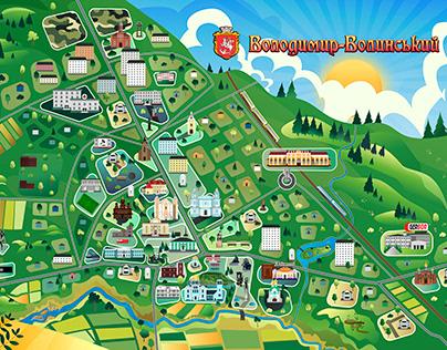 Souvenir map puzzle of the city