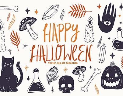 Happy Halloween Vector Clip Art Set