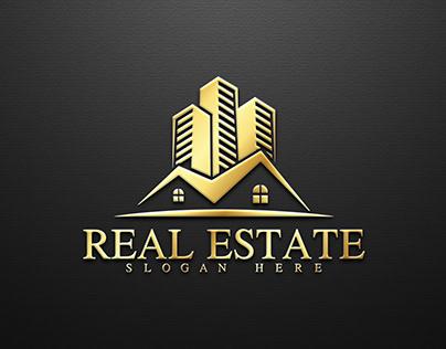 Real Estate- Golden Color -Logo Design.