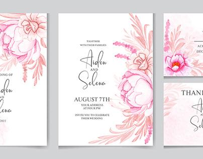 Elegant wedding invitation card template in watercolor