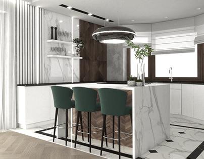 Luxury kitchen and livingroom