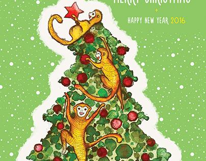 2016 monkey year postcard • Новогодняя открытка