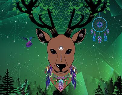 Totem animal elk - illiustration