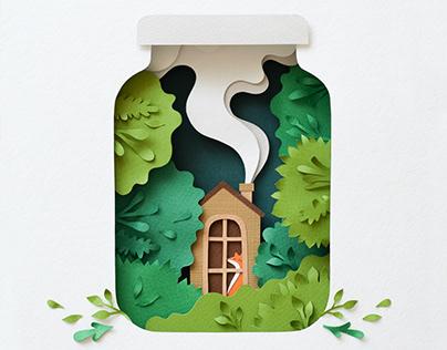 Cabin Life | paper art
