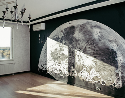 "Airbrushing on the wall ""Moon"""