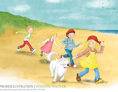 spielende kinder |  kinderbuchillustration