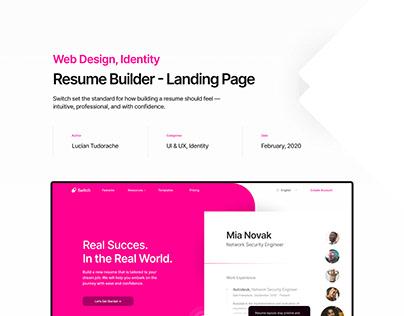 Resume Builder - Landing Page - UI & UX, Identity