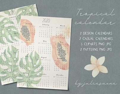 Printable tropical calendar 2020
