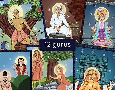 12 gurus in Indian folk art form - Bengal Pattachitra