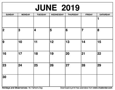 June 2019 Calendar Printable Templates