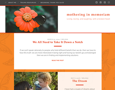 Web design and build for Mothering in Memoriam