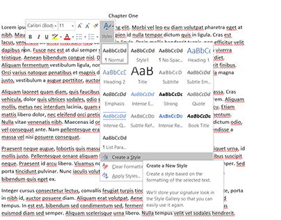 Creating Chapter Headings in Microsoft Word