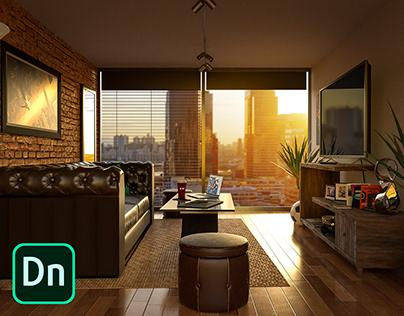 Contemporary Living Space - 3D Scene in Dimension CC