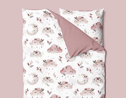 Boho Clouds - watercolor textile pattern