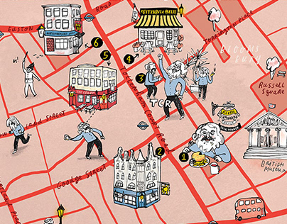 Illustrated map for Londonist Drinks book