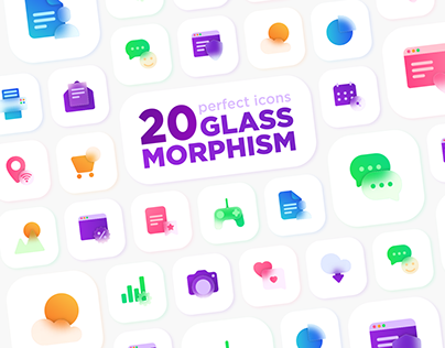 Glassmorphism 20 Icons Set