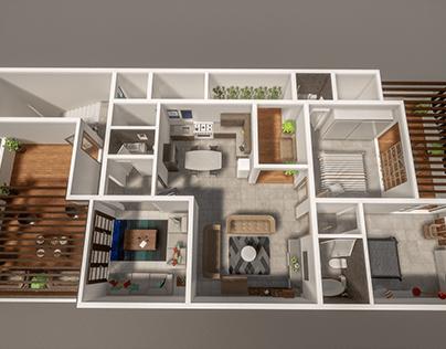 3d plan for roof villa in Saudi Arabia