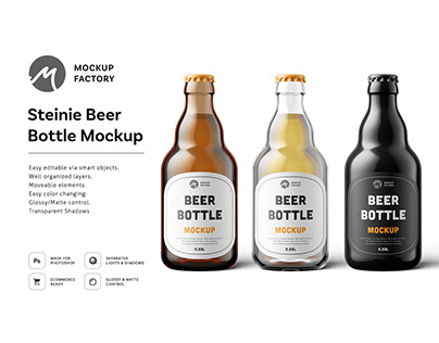 Steinie Beer Bottle Mockup
