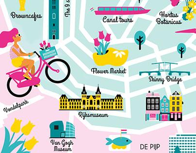 Amsterdam map | Vector illustration