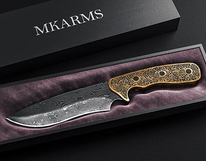 Gold Damascus Knife - CGI