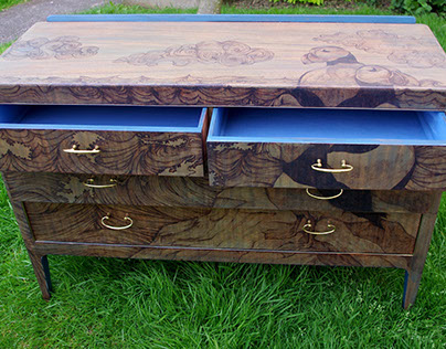 puffins sideboard, pyrography, upcycled wood