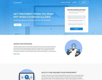Landing page design for freelance entry
