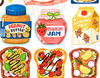 I love breakfast food illustrations