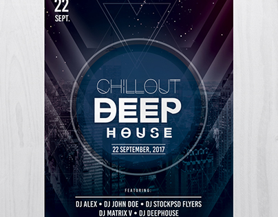 Chillout Deep House - Free PSD Flyer Template