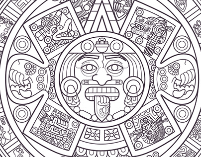 """Sun Stone"" The Aztec Calendar by DTM"