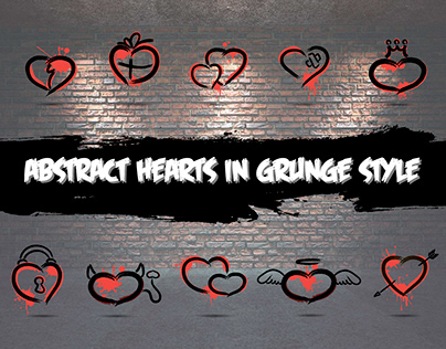 Abstract hearts in grunge style
