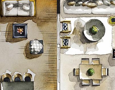 Watercolor 2D Floor Plans for Wander the Resort