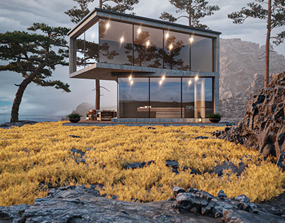 A small house on the rocks